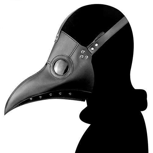 Trieksull Plague Doctor Bird Mask Latex Long Nose Beak Cosplay Steampunk Halloween Mask Costume Props (Black)