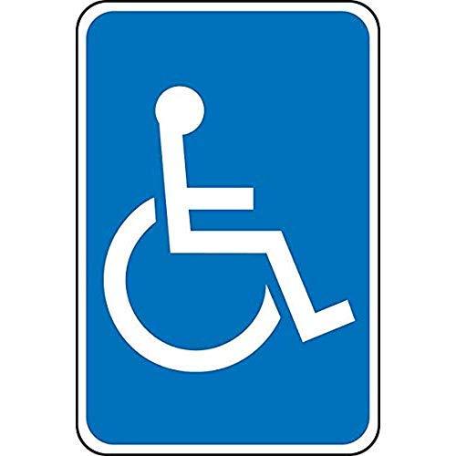 Señal de Aparcamiento para discapacitados de Grado Federal con símbolo de Silla de Ruedas, Blanco sobre Azul, 20,3 x 30,5 cm