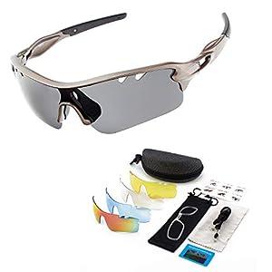 超軽量 スポーツサングラス偏光 ケース付きス交換レンズ5枚ポーツ UVカット メンズ レディース ゴルフ サイクリング 自転車用 サングラス スポーツバイク