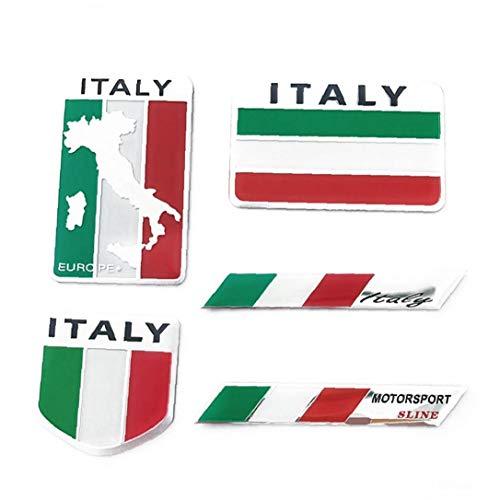 hong Wu Italien-flaggen-Aufkleber Aluminium-Legierung Auto-Aufkleber Italien-Emblem-Abzeichen Kreative Car Styling-Aufkleber Für Motorrad Fahrzeug 5 Pc