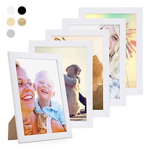 PHOTOLINI 5er Bilderrahmen-Set 21x30 cm/DIN A4 Basic Collection, Modern, Weiss, aus MDF, inklusive Zubehör/Bilderrahmen-Collage