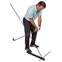 Tour striker plane station setup to stop a steep swing plane. The swing trainer allows you to hit balls
