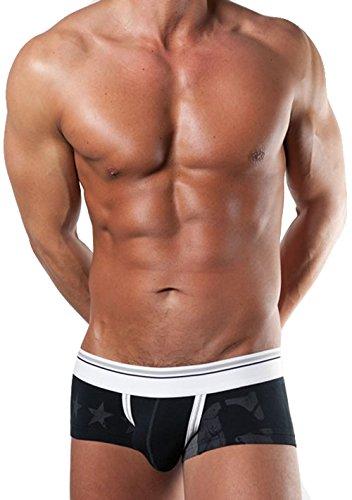 LKBEST bodywear Herren Boxer Shorts Boxershorts Hipster Unterhose Schwarz Baumwolle (M)