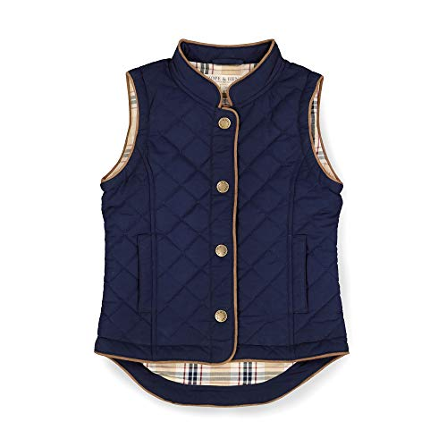 Hope & Henry Girls' Quilted Riding Vest with Snap Front