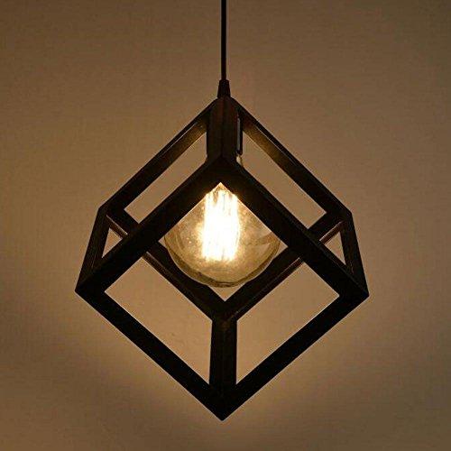 E27 Retro hanglamp zwart lampenkap kooi ijzer rechthoekig transparant vintage industrieel design hanglamp met kabel binnen decoratie diameter 22 cm