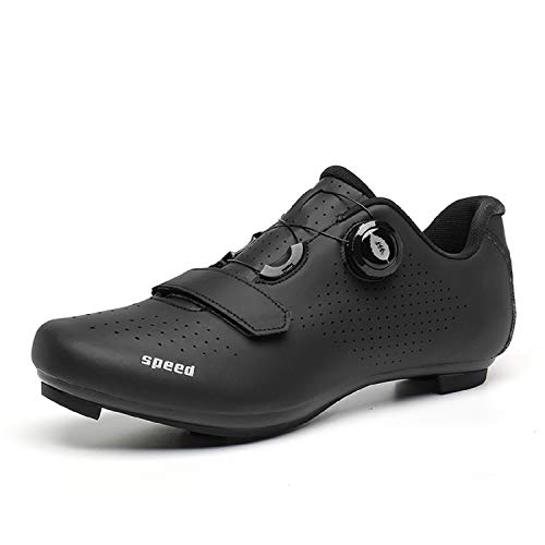 Scurtain Mens Road Bike Cycling Shoes Racing Bikes Shoes with Compatible Cleat Peloton Lock Pedal for Men Indoor Cycling Shoes Men Peloton Compatible All Black 10.5 Men