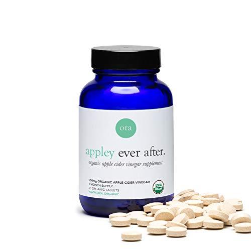 Ora Organic Apple Cider Vinegar Pills - ACV Metabolism Booster, Detox Cleanse, Weight Management - Organic Apple Flavor, 1 Month Supply, 60 Vegan Tablets