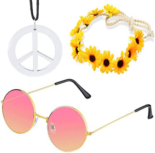 WHITE HIPPIE SWAG NECKLACE PEACE SIGN 60s 70s FANCY DRESS ACCESSORIES B3