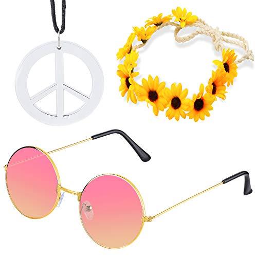 Beelittle Hippie Kostüm Set - 60er Jahre Retro Vintage Brille Friedenszeichen Halskette Sonnenblume Krone Haarband 60er Jahre Hippie Dressing Zubehörset (A)