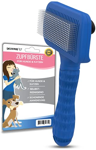 DEZENDO® Zupfbürste selbstreinigend   für Hunde & Katzen mit MITTEL- & LANGHAAR   sichere Fellpflege mit unserer Katzenbürste & Hundebürste   Katzenhaare entfernen mit der Fellbürste