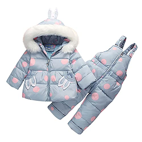 Clearance!! 1-4 Years Winter Baby Boys Girls Polka Dot Printing Thickened Down Jacket Strap Pants Two-piece Suit