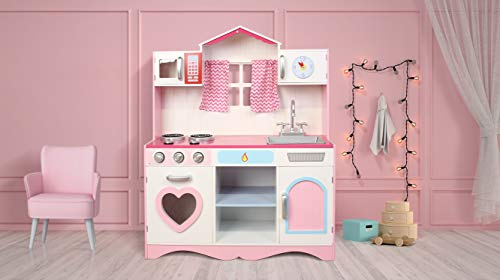 Mcc® Large Girls Kids Pink Wooden Play Kitchen With Utensils