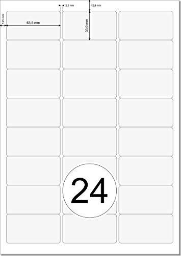 Etiquetas de 63,5 x 33,9 mm, transparentes, en hojas DIN A4, 3 x 8 unidades por página, 240 63,5 x 33,9 mm, poliéster, autoadhesivas, resistentes a la intemperie, imprimibles con impresora láser