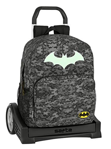 Mochila Safta 754 Espalda Ergonómica con Carro Safta Evolution de Batman Night, 320x140x430mm, Gris/Negro