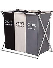 Imagine orange stor hopfällbar tvättkorg, 3 fack, väska för smutsiga kläder med handtag, för badrum, sovrum, hem (#1)