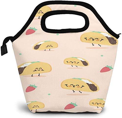 Lindos Tacos aislados bolsa de almuerzo personalizado Bento Box Picnic Cooler portátil bolso almuerzo bolsa para mujeres niñas hombres niño