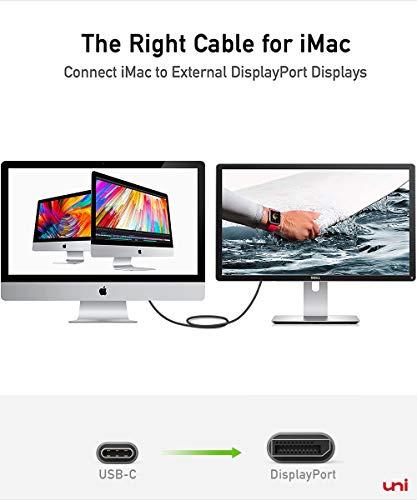 USB C auf DisplayPort Kabel (4K@60Hz, 2K@144Hz), Thunderbolt 3 zu DisplayPort-Kabel, Kompatibel für MacBook Pro 2019/2018/2017, MacBook Air, iPad Pro 2020/2018, Surface Book usw. 6ft/1,8m - 6