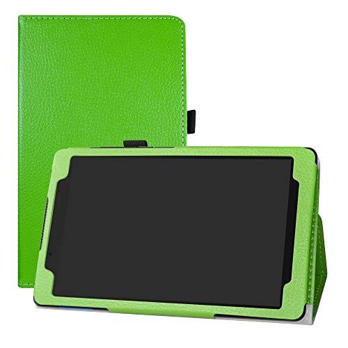 LFDZ Lenovo Tab E8 Hoesje, Oppervlak met behulp van hoge kwaliteit synthetisch leer Hoes Voor Lenovo Tab E8 HD 2018 8-Inch Tablet,Groen