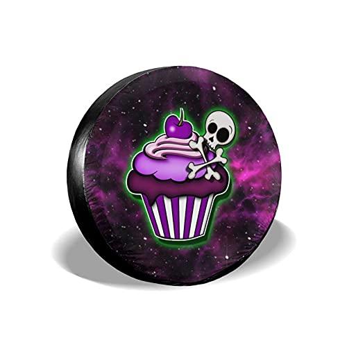 Lewiuzr Purple Galaxy Skull Cupcake Postre Cubierta de neumático de Repuesto Protector Solar de poliéster Cubiertas de Rueda Impermeables Ajuste Universal