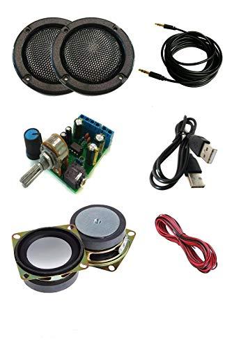 """TALENTEC Kit DIY de Audio: Amplificador 2.0, 2X Altavoces 5W 4Ω 2"""", 2X Rejillas Negras de 2"""", cableado. Kit de Sonido DIY"""