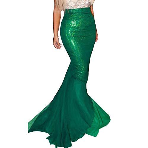 FeMereina Disfraz de Sirena Sexy para Mujer Cosplay de Halloween Lentejuelas Elegantes Vestido de Cola Larga con Panel de Malla Asimétrica para Fiesta de Disfraces (S, Verde-2)