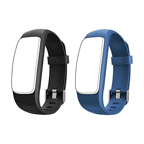 endubro pulsera repuesto para ID107 PLUS HR & muchos otros modelos (Negro + Azul)