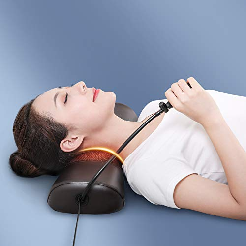 Boriwat Cervical Traction Pillow with Heat & Vibration, Cervical Neck Traction Device for Neck Pain