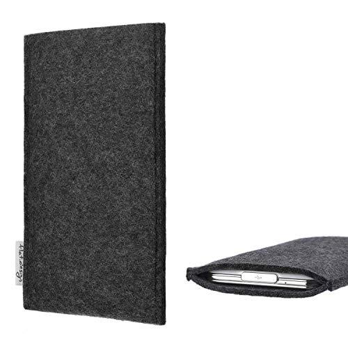 flat.design Handy Hülle Porto kompatibel mit BlackBerry KEY2 (Dual-SIM) handgefertigte Handytasche Filz Tasche Schutz Hülle fair dunkelgrau