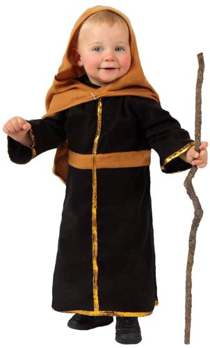 Atosa-12775 Atosa-12775-Disfraz De San José niño bebé-talla 0 a 6 meses marrón-Navidad, color (12775)