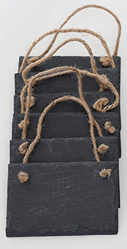 Novaliv Schiefertafel zum Aufhängen mit Juteband Memotafel Kreidetafel Wandeko (6, 9 cm Tafel)
