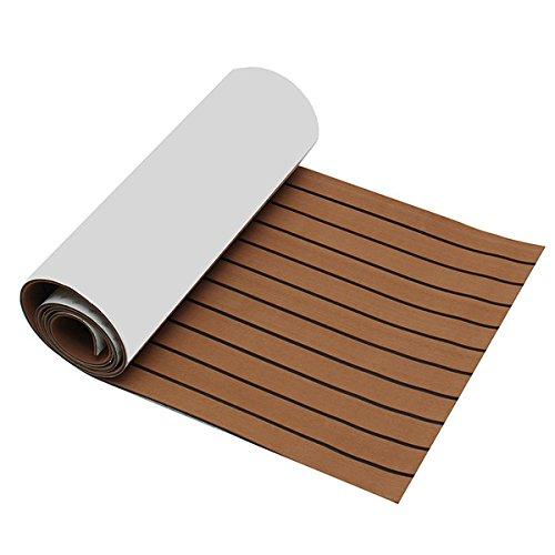 YOUTTOO Teakholz-Terrassendielen, 2400 x 600 x 6 mm, EVA-Schaum, Braun mit schwarzer Linie, Bootsboden aus Teak-Kunststoff