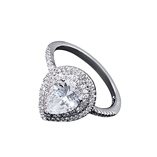 Anillo para mujer con diamantes de circonio cúbico de plata, anillo de compromiso, anillo de boda para mujer, bisutería para boda, compromiso, regalo de cumpleaños maravilloso
