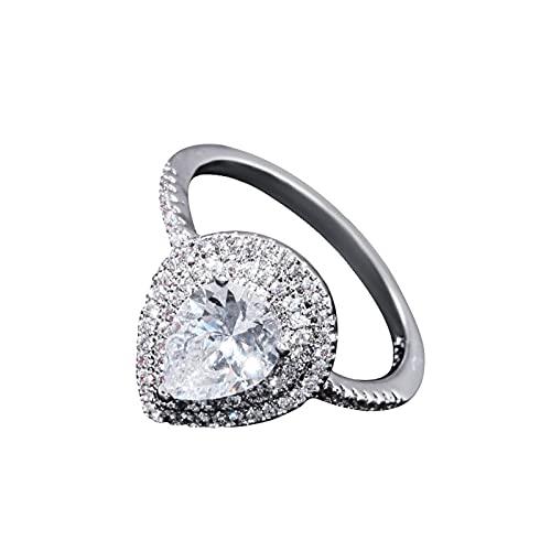 HEling Anillo de compromiso con circonita cúbica para mujer, anillo de compromiso con diamante artificial en forma de pera, anillo de boda, anillo de compromiso, joya de circonita, chapado en platino