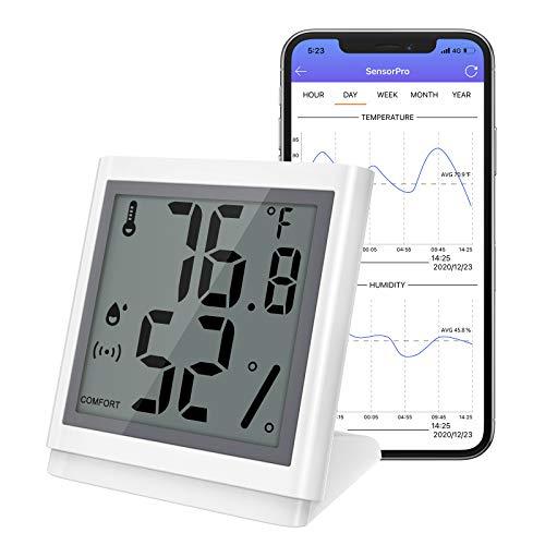 ORIA Bluetooth Thermometer Hygrometer, Innen Thermo-Hygrometer Mini mit LCD Bildschirm, Daten Export, kompatibel mit ios Android für Wein, Zigarre, Wohnzimmer, Babyzimmer, Haus