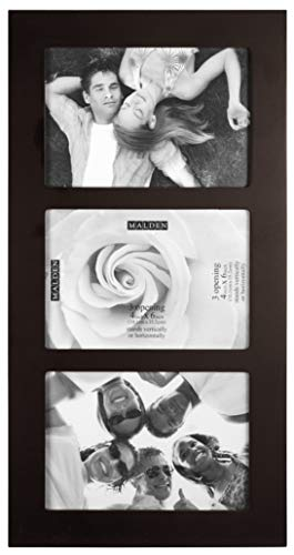 Malden 4x6 3-Opening Collage Picture Frame, Displays Three, Walnu