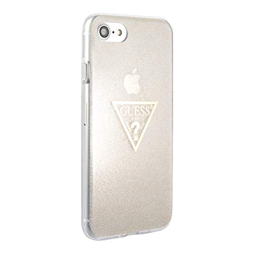GUESS Triangle Funda para iPhone 8, iPhone 7 y iPhone 6 Protector Adornado con Glitter Dorado Resistente a Impactos