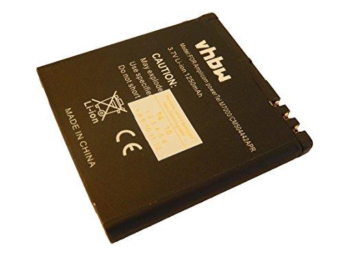 vhbw Li-Ion Akku 1250mAh (3.7V) kompatibel mit Handy, Smartphone, Handy Amplicom PowerTel M6700, M6700L, M7000 Ersatz für CM504442APR.