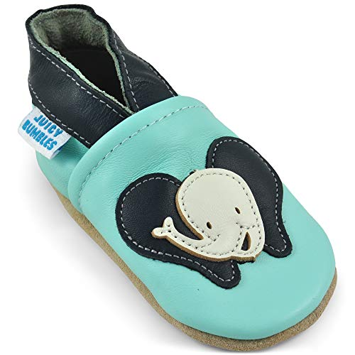 Juicy Bumbles Lauflernschuhe - Krabbelschuhe - Babyhausschuhe - Lächelnder Elefant - 18-24 Monate (Größe 24/25)