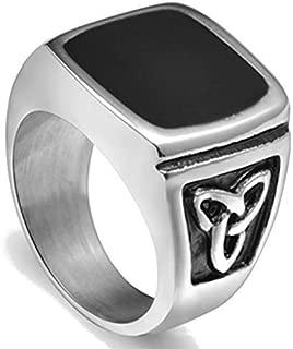 Stainless Steel Black Enamel Signet Celtic Knot Ring