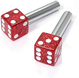 MiLanNuo 2 Red Glitter Dice Interior Door Lock Knobs Pins for Car-Truck-Hotrod-Classic