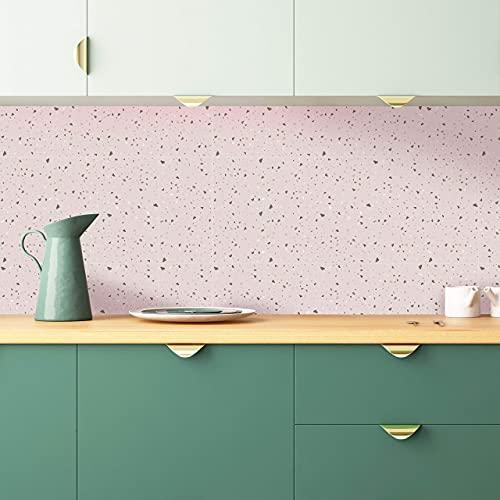 WALPLUS 24 pegatinas para azulejos de pared de terrazzo, color rosa metálico rosa rosa
