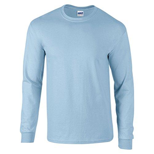 Gildan Mens Ultra Cotton 6 oz. Long-Sleeve T-Shirt(G240)-Light Blue-M