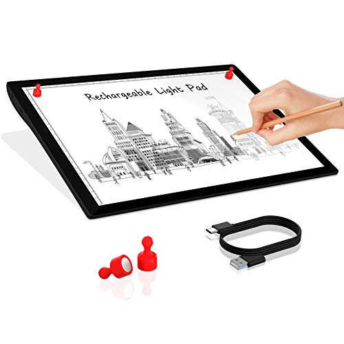 Rechargeable Wireless Portable A4 Tracing LED Light Box-Winshine Dimmable Battery Powered LED Light Pad Light Weighted Light Board, for Aritist Drawing, Diamond Painting,Sketching, Animation