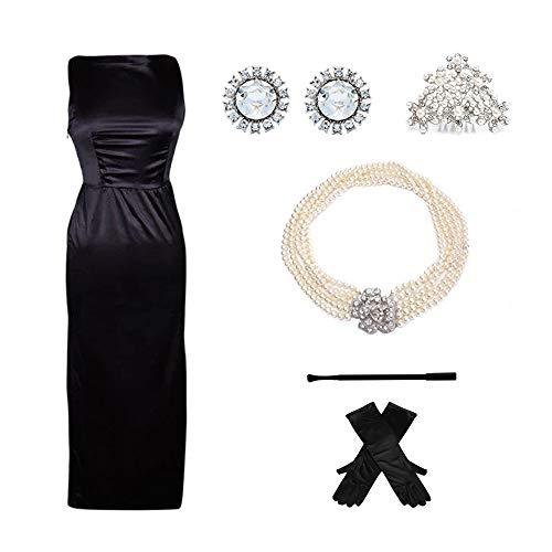 Premium satinschwarzes Kleid & Kostümzubehör Set Frau inspiriert von Audrey Hepburn Style (L, mit Geschenkbox)