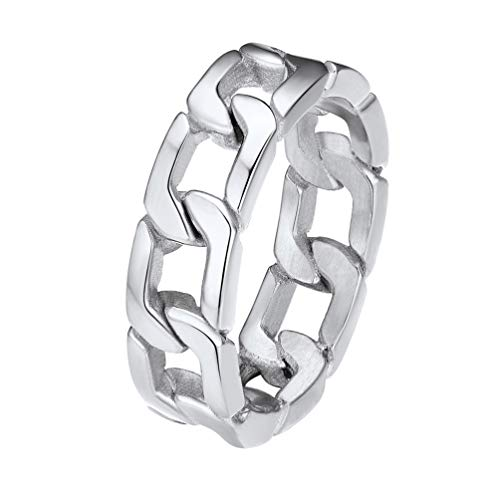 PROSTEEL Man Stainless Steel Ring Men Boys Mens Jewelry Gift Cuban Link Size 8 Rings for Teens