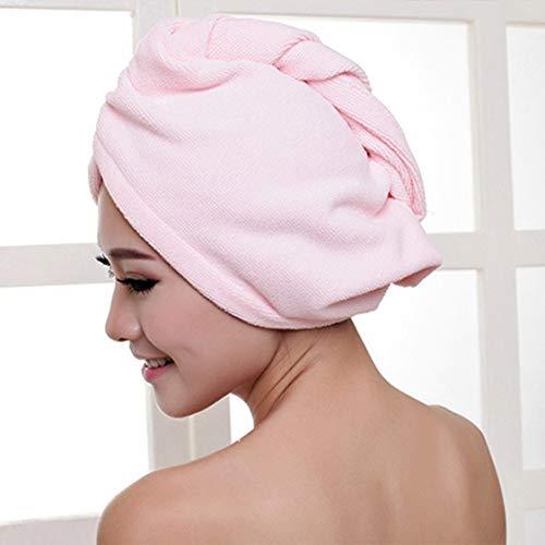 VIGE Superfine Faser-Bad-Haar-trockener Hut-Duschhaube-weiches Starkes Wasser, das schnell trocknet, Haupthandtuch-Kappen-Hut für das Baden - Rosa
