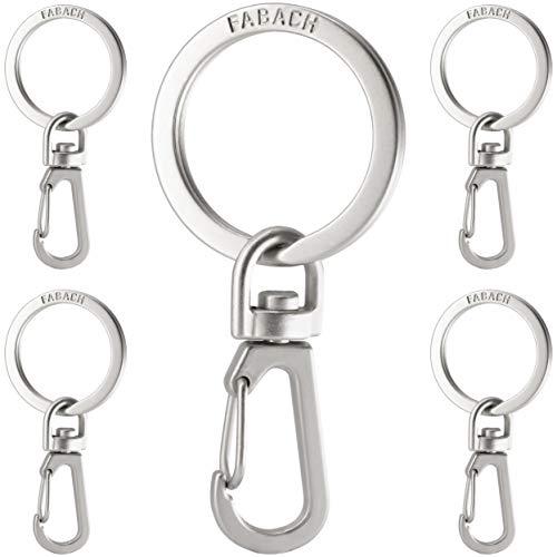 FABACH Karabiner Schlüsselanhänger mit drehbarem Schlüsselring - Kleine abnehmbare Karabinerhaken Schlüsselringe - Stabile Mini Schlüssel Karabiner Haken als Schlüsselhalter und zum Basteln
