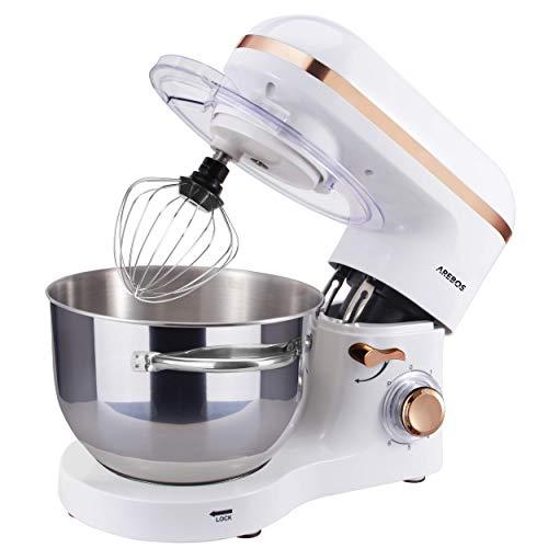 Arebos Küchenmaschine 1500W mit 6L Edelstahl-Rühlschüssel, Rührbesen, Knethaken, Schlagbesen und Spritzschutz, 6 Geschwindigkeit Geräuschlos Teigmaschine, Weiß