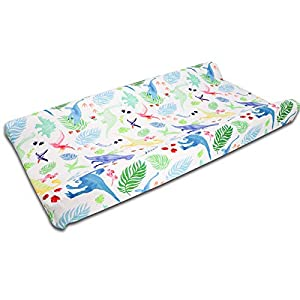 Dinosaur Changing Pad Cover, Diaper Changing Mat Cover Sheets for Newborn Boys and Girls, Nursery Changing Table Sheets, Soft Breathable, White