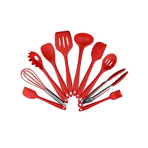 Silicone Kitchen Utensils 10 Piece Cooking Utensil Set, Made of FDA Grade, BPA Free Silicone, Heat Resistant up to 450 Degrees Fahrenheit, Non Stick Stain & Ordor Resistant, Dishwasher Safe - Red